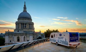 Bailey of Bristol promotes caravanning with a high-flying caravan stunt in London