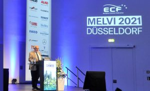 Francois Feuillet gives speech about his 40 year career in the caravan industry